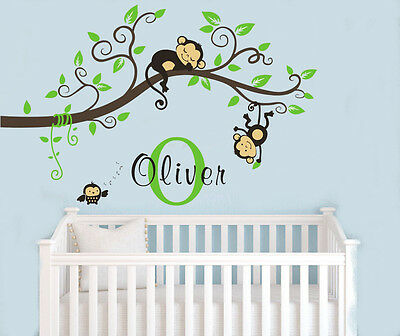 Wall Stickers custom name monkey branch vinyl decal decor Nursery kids removable