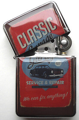 Retro Car sign Windproof LIGHTER Classic Garage