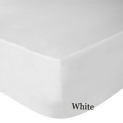 Luxury Plain Dyed Non-Iron Percale Cotton Double Bed Elastic Fitted Sheet White