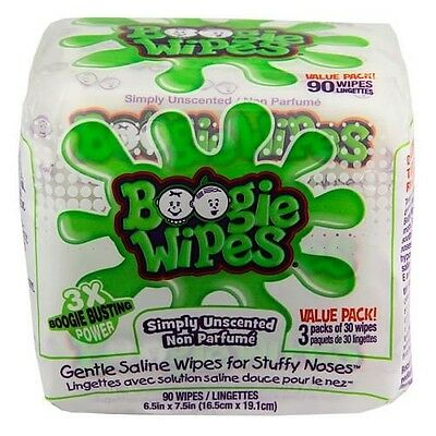 Little Busy Bodies Boogie Wipes Saline Nose Wipes 3x30ct Simply Unscented
