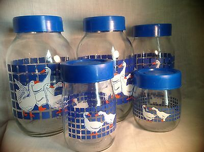 Vintage 1982 CARLTON GLASS USA Glass Jars Canisters w/ Lids-Blue- Geese-Set of 5