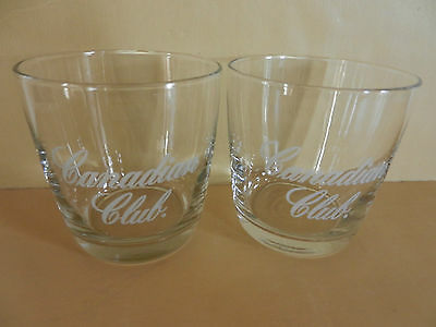 Pair of Etched Canadian Club Whiskey Glasses Set of 2
