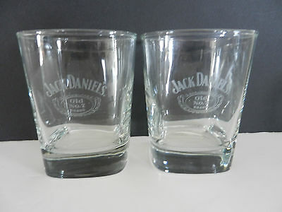 Pair of Jack Daniel's Old No 7 Brand Whiskey Glasses with white etching