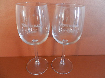 Pair of Spanish Montecillo Rioja Stemmed Wine Glasses Set of 2 Etched Winery