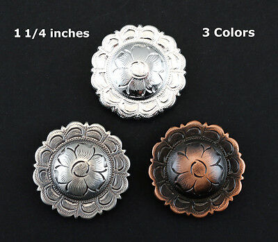 "Lot Of 6 Conchos 1 1/4 "" Floral Scalloped Edge Bs 9305-2 Engraved 3 Colors"