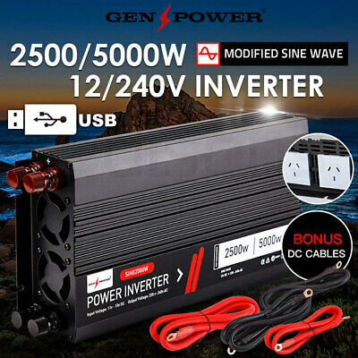 GENPOWER Modified Sine Wave Power Inverter Max 12V 240V 2500W/5000W Camping Car