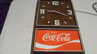 Rare Design Vintage 1970's Electric Coca-Cola Working Clock  Made In Usa