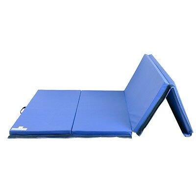 Hug Flight 8FT Four Folding Gymnastics Mats Thick Exercise Fitness Physio Blue