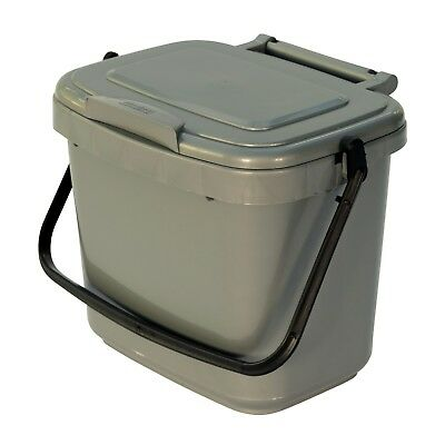 Kitchen Compost Caddy - Silver Grey - for Food Waste Recycling (5 Litre) 5L Bin