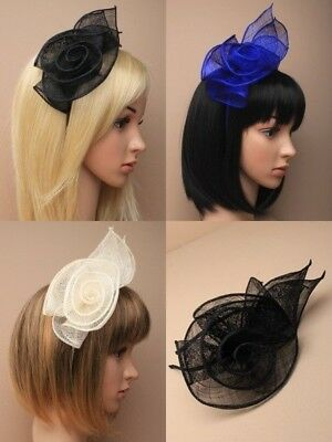 Pack Of 2 Layered Coil Rose Sinamay Fascinators On Alice Band, Wedding, Bride