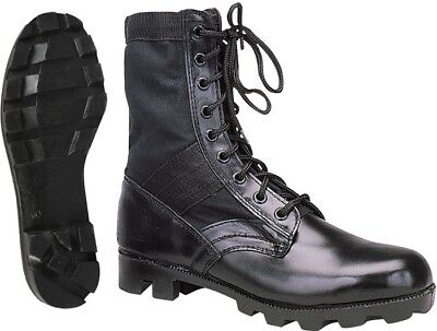 Black Leather Military Jungle Boots, Classic Panama Sole Tactical Combat Vietnam