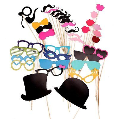 36 Colorful Props Mustache Red Lips Photo Booth Party Fun Christ Funny Props ED