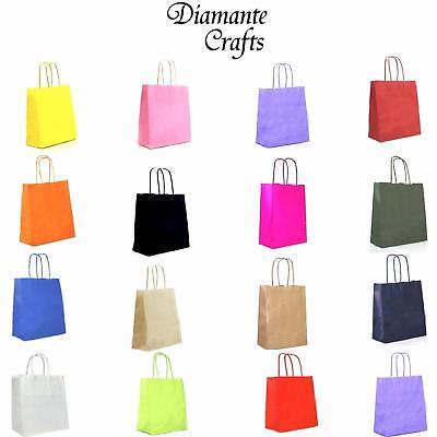 Kraft Paper Carrier Bags with Twisted Handles  Party Loot Gift - 20 Cols - Small
