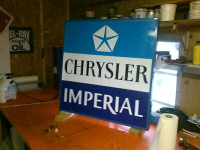 Chrysler imperial lighted advertisement sign 21x21 inch by 5 inches deep