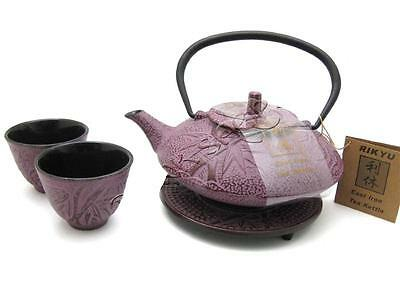 Japanese Cast Iron Tea Pot Cups Trivet Set w/ Strainer Pink Bamboo Gift Boxed