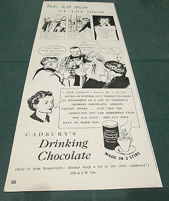 (Y2) Vintage Advert 1930`s Cadbury`s Drinking Chocolate 16Th February 1952