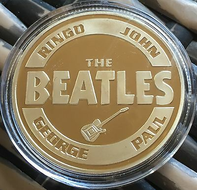 The Beatles Band Medallion Finished In 24k Gold  .999 1oz Weight Coin Gift Line