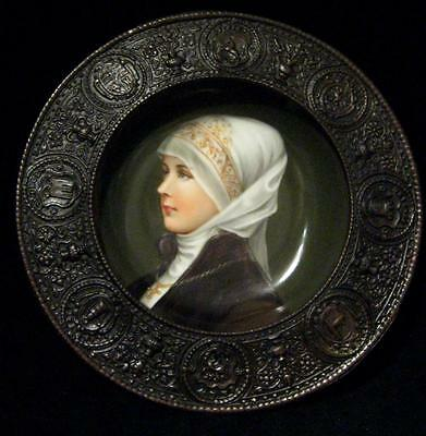 C19th German Hand Painted Lady on ceramic plate in bronzed embossed Frame