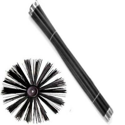 Chimney Sweeping Set Kit Flue  with 400mm Cleaning Sweep Brush  & 8 Drain Rods