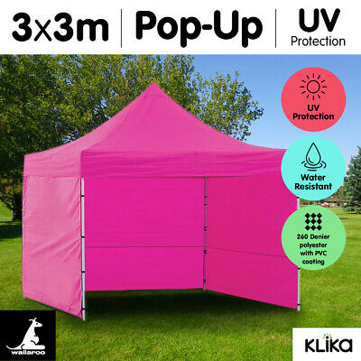 PINK 3x3 WALLAROO POP UP OUTDOOR GAZEBO FOLDING TENT PARTY MARQUEE SHADE CANOPY
