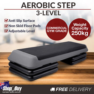3-Level Aerobic Step Bench Home Gym Workout Fitness Exercise 4 Block Stepper