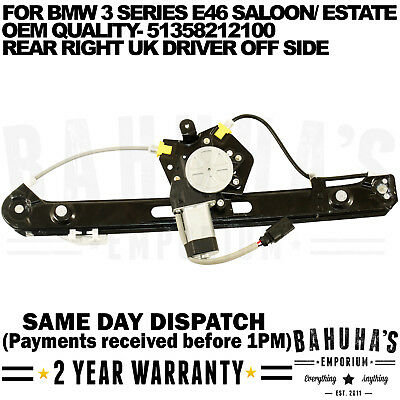 Bmw E46 3 Series Rear Right Side Window Regulator With 2 Pin Motor Electric New