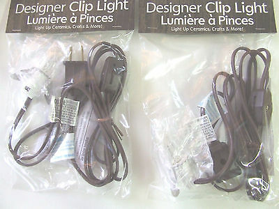 2 Single Clip Light Replacement C7 Bulb On/Off Switch Village Houses 6 ft cord