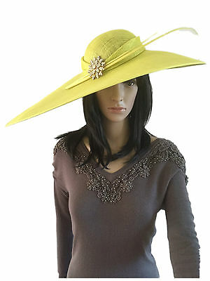 Citrus Lime Green X Large Hatinator Occasion Hat Weddings Mother Of The Bride