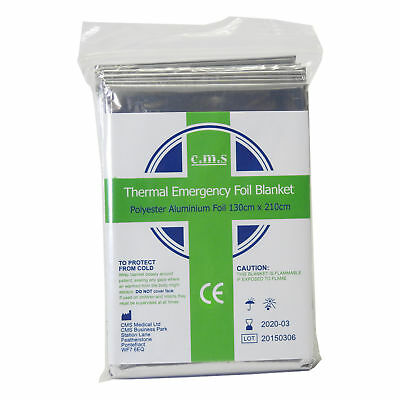 3 x Waterproof Foil Emergency Thermal Blankets - First Aid -Camp Survival (MS01)