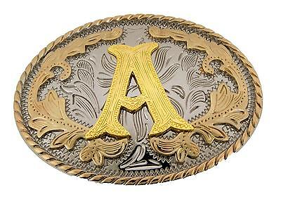 "Western Gold Color Initial Letter ""A"" Oval Rodeo Cowboy Belt Buckle"