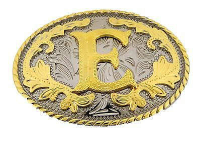 "Western Gold Color Initial Letter ""E"" Oval Rodeo Cowboy Belt Buckle"