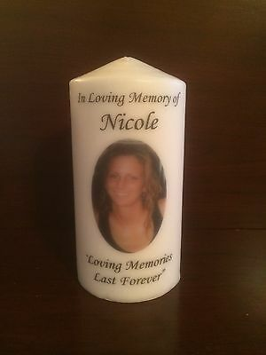 """6"""" Memorial Candle, Wedding Candle, Funeral, Tribute, Unity, Photo, Personalized"""