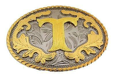 "Western Gold Color Initial Letter ""T"" Oval Rodeo Cowboy Belt Buckle"