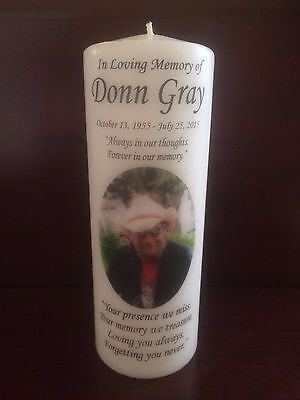 """8"""" Memorial Photo Candle, Wedding Candle, Funeral, Tribute, Unity, Personalized"""