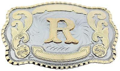 Initial Letter R Western Extra Large Rodeo Cowboy Belt Buckle