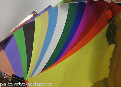 Colored CHROME Sign Vinyl, Pick Color and Size, Self-Adhesive Plastic SHEETS