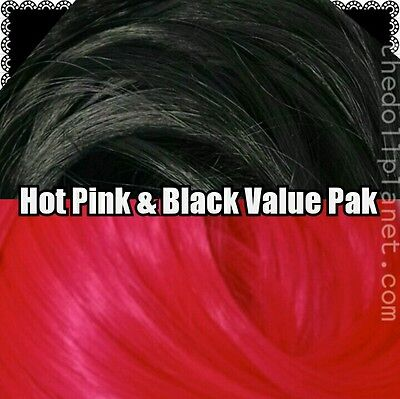 Black & Hot Pink XL 4oz 2 Color Value Pak Nylon Doll Hair Reroot Ever After Doll