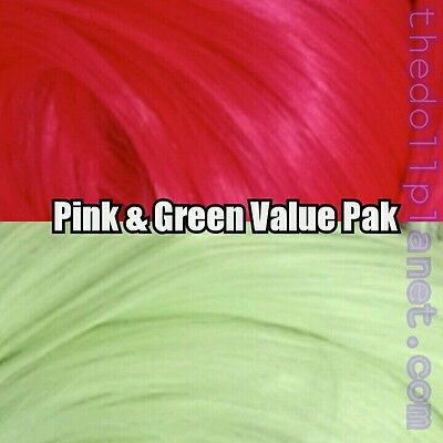 Hot Pink & Green XL 4oz 2 Color Value Pack Nylon Doll Hair to Reroot Barbie MLP