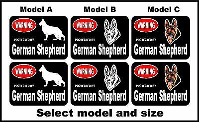 2 Warning protected by German Shepherd guard dog breed decals sticker stickers