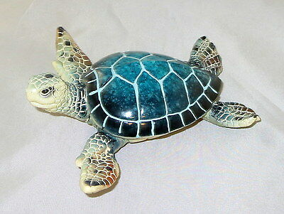 """Sea Turtle Figurine Blue Water Animals 5.75"""" Poly Resin New"""
