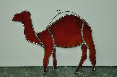 Vintage Red & Amber Stained & Leaded Glass Camel Figure for Window Hanging