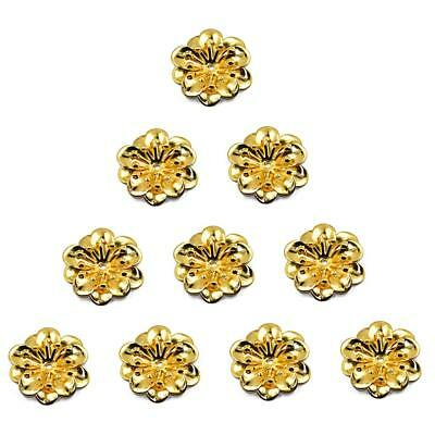 10pcs Gold Alloy Metal Flower Beads Charm Pendants Jewelry Craft Findings