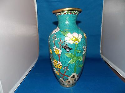 "10"" Old China bronze Cloisonne Flowers & Birds Vase Jar Beautiful!"