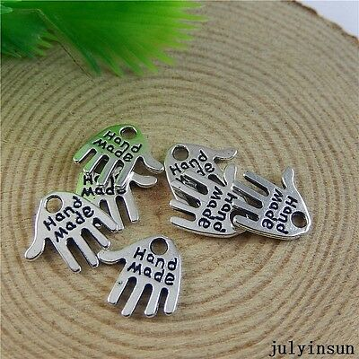 Antique Silver Alloy Engraved Hamsa hand Charms Pendants Findings Crafts 50x