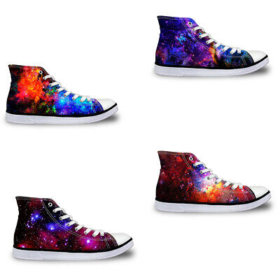 6abbb7ad8481 Fashion Womens Mens High Top Canvas Boots Trainers Sports Shoes Galaxy Comfy