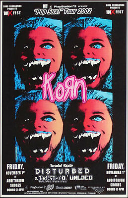 Korn + Disturbed **RARE** Pop Sux 2002 Tour Poster MTV PlayStation 2