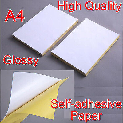 A4 Glossy Self-adhesive Sticker Sticky Back Label Paper New Blank Laser Printer