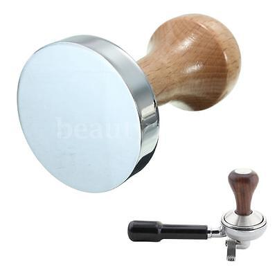 51mm Stainless Steel Wooden Coffee Tamper Tool Accessory With Wood Handle New