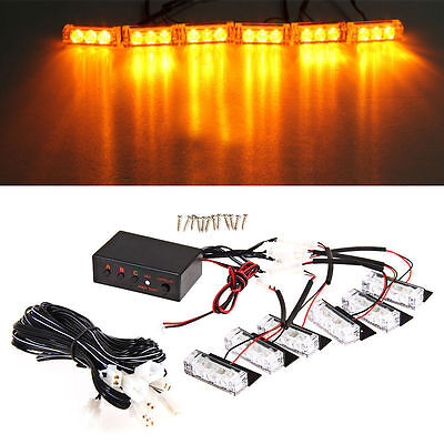 6 Car LED Amber Grill Lights Flashing Bar Strobes Warning Recovery Breakdown 12V