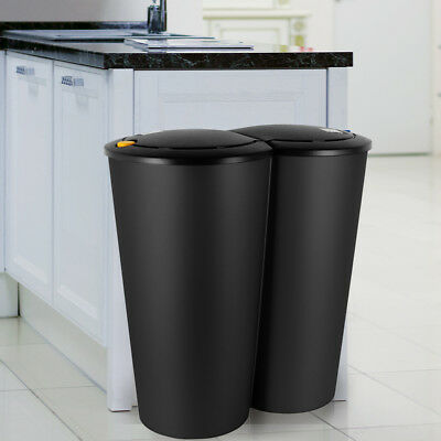 Dustbin 2 Compartment Garbage Can Waste Bin Double Rubbish Black 50 L Recycling